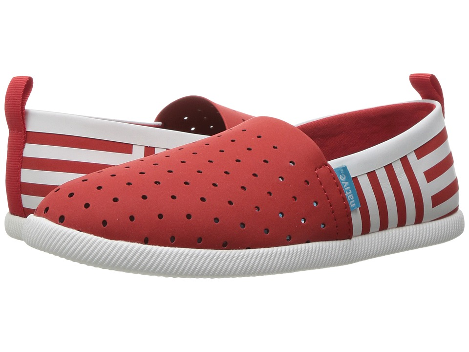 Native Kids Shoes - Venice Stripe (Little Kid) (Torch Red/Shell White/Shell Stripe) Girl's Shoes