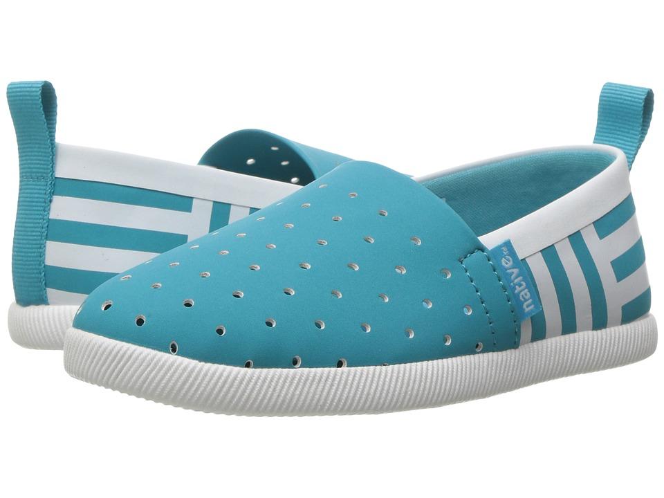 Native Kids Shoes - Venice Stripe (Toddler/Little Kid) (Iris Blue/Shell White/Shell Stripe) Girl's Shoes