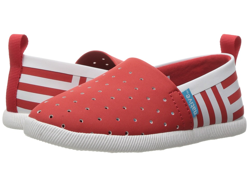 Native Kids Shoes - Venice Stripe (Toddler/Little Kid) (Torch Red/Shell White/Shell Stripe) Girl's Shoes