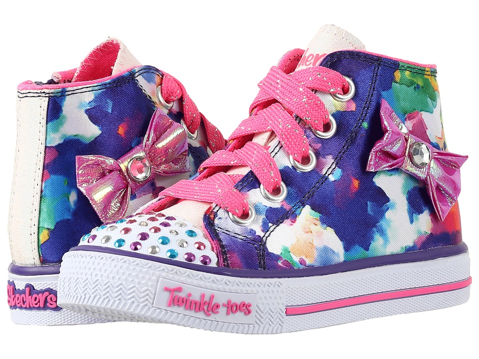 SKECHERS KIDS - Twinkle Toes - Artsy Up 10698N Lights (Toddler/Little Kid) (White/Purple) Girl's Shoes