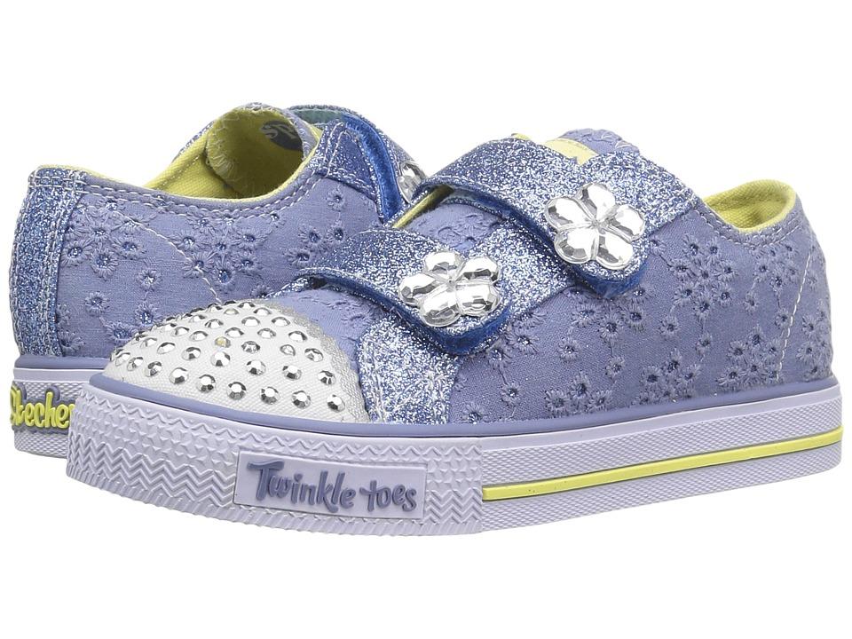 SKECHERS KIDS - Twinkle Toes - Shuffles 10724N Lights (Toddler/Little Kid) (Blue/Yellow) Girl's Shoes