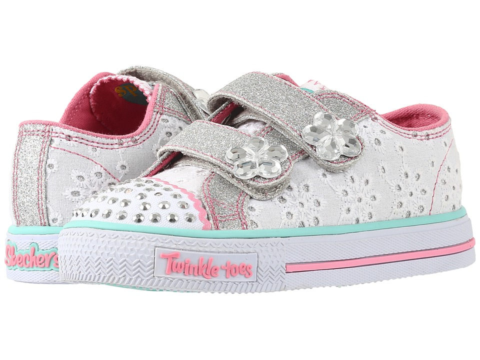 SKECHERS KIDS - Twinkle Toes - Shuffles 10724N Lights (Toddler/Little Kid) (White/Pink/Mint) Girl's Shoes