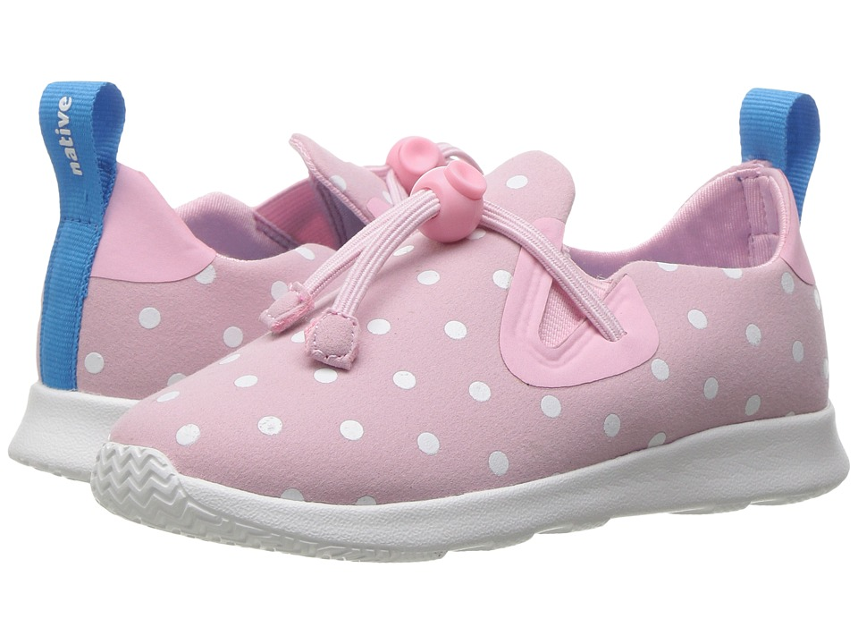 Native Kids Shoes Apollo Moc Polka Dots (Toddler/Little Kid) (Princess Pink/Shell White/Shell Dots) Girls Shoes