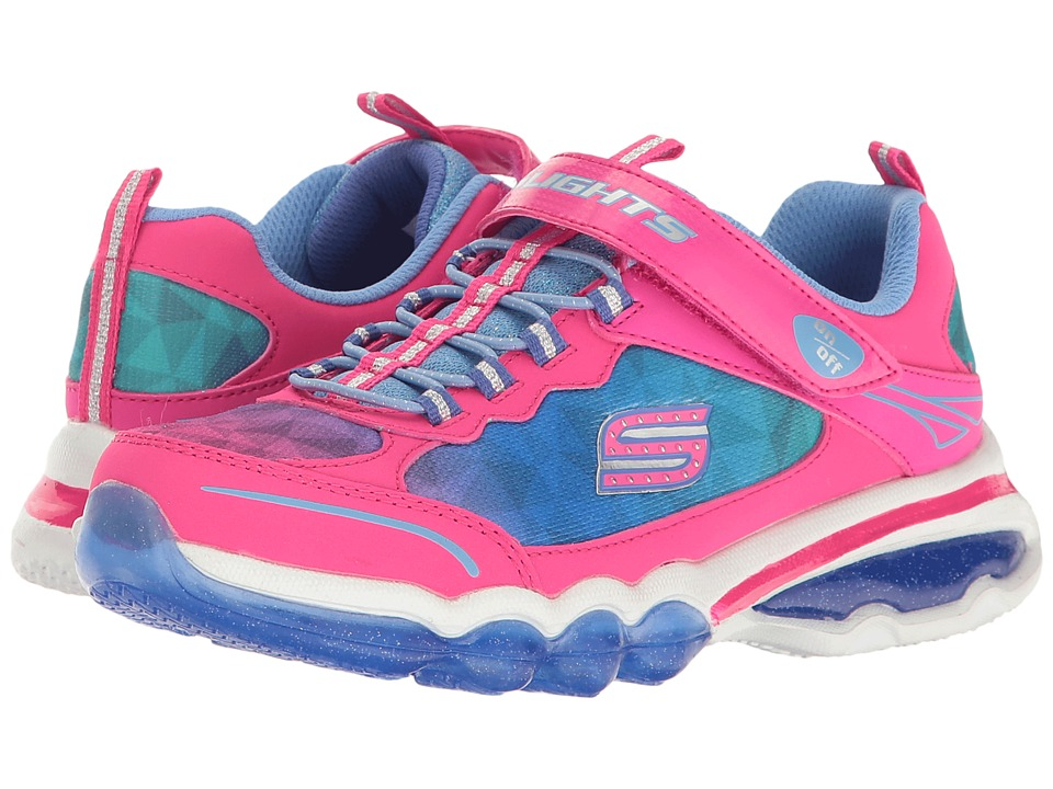 SKECHERS KIDS - Light It Up 10736L Lights (Little Kid/Big Kid) (Neon Pink/Blue) Girl's Shoes