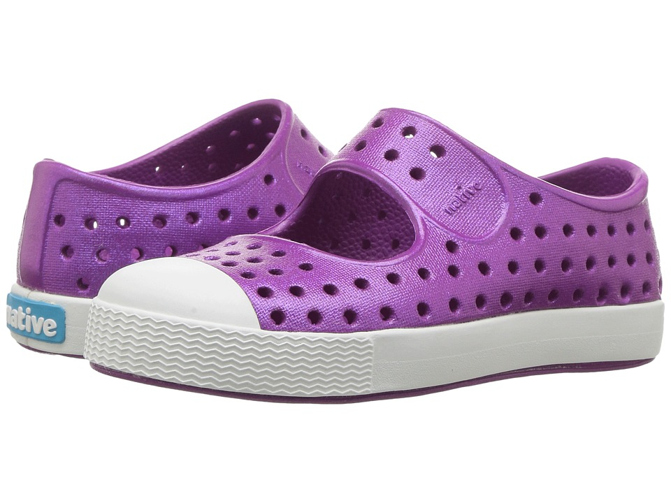 Native Kids Shoes Juniper Mary Jane Iridescent (Toddler/Little Kid) (Baker Purple/Shell White/Iridescent) Girls Shoes