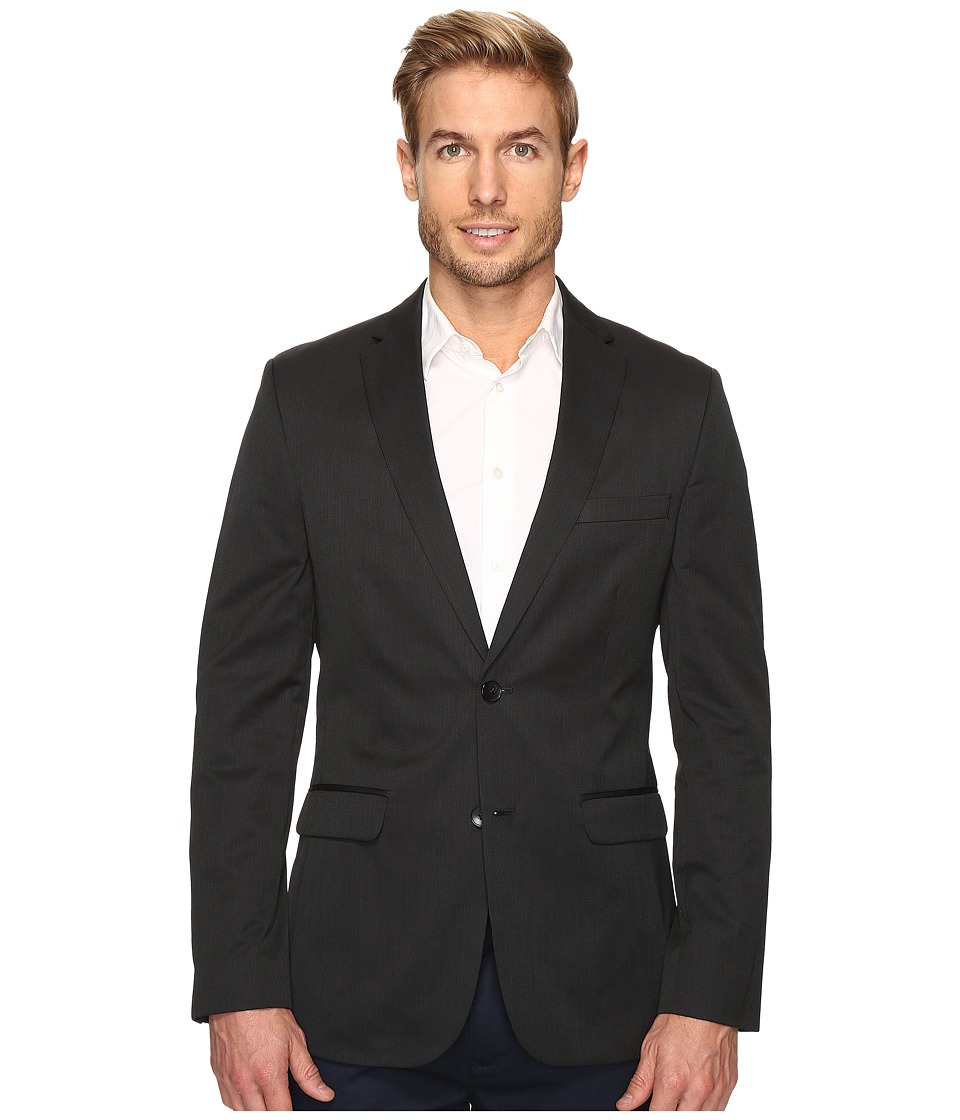 Calvin Klein - Slim Fit Ticking Stripe Sportcoat (Granite) Men's Coat