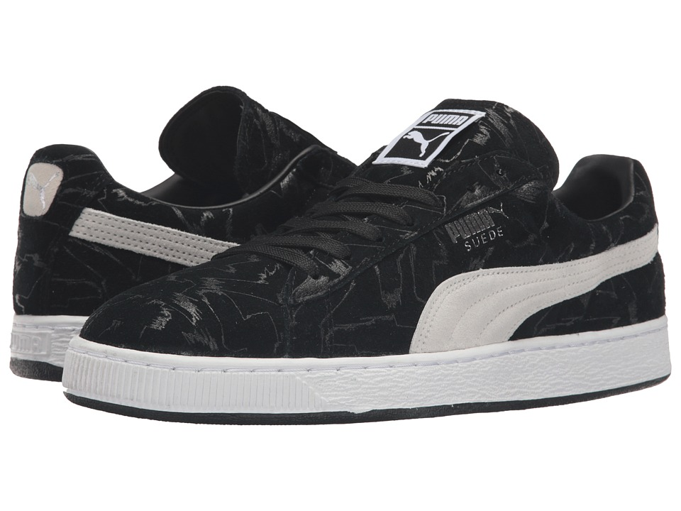 PUMA - Suede Brush Emboss (Black/White) Men's Shoes