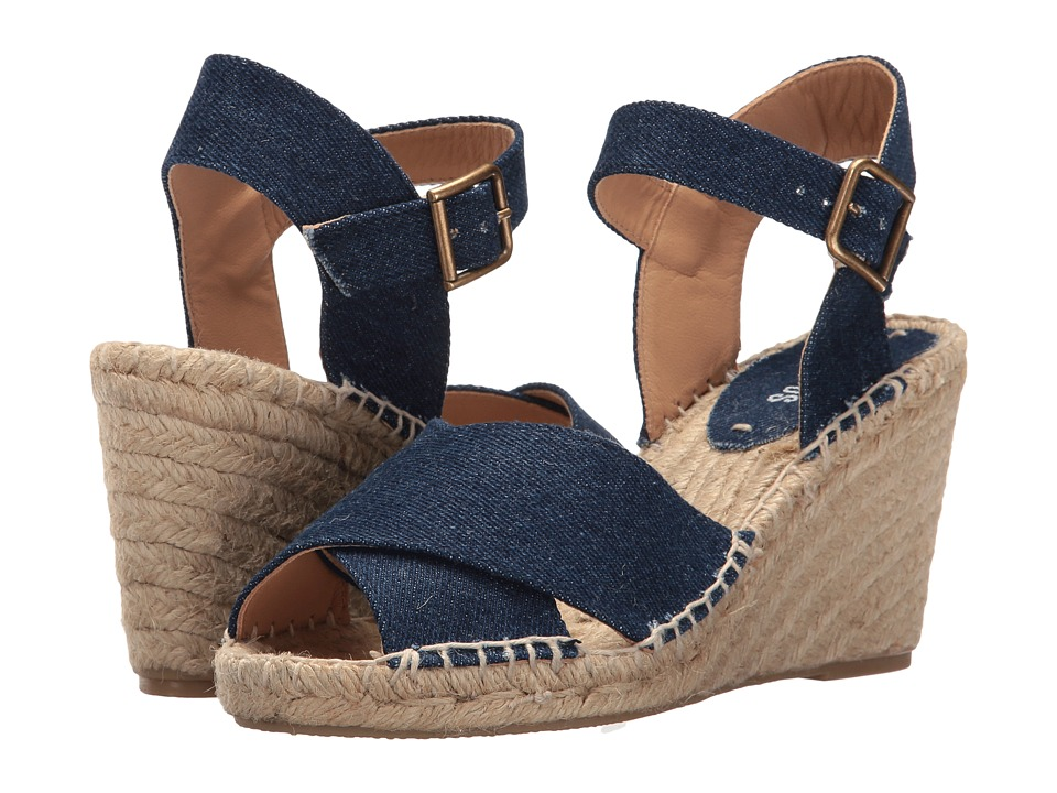 Soludos Crisscross Wedge (Dark Denim Cotton Denim) Women