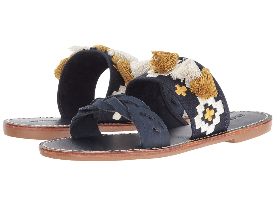 Soludos - Embroidered Slide Flat Sandal (Midnight Blue Leather) Women's Sandals