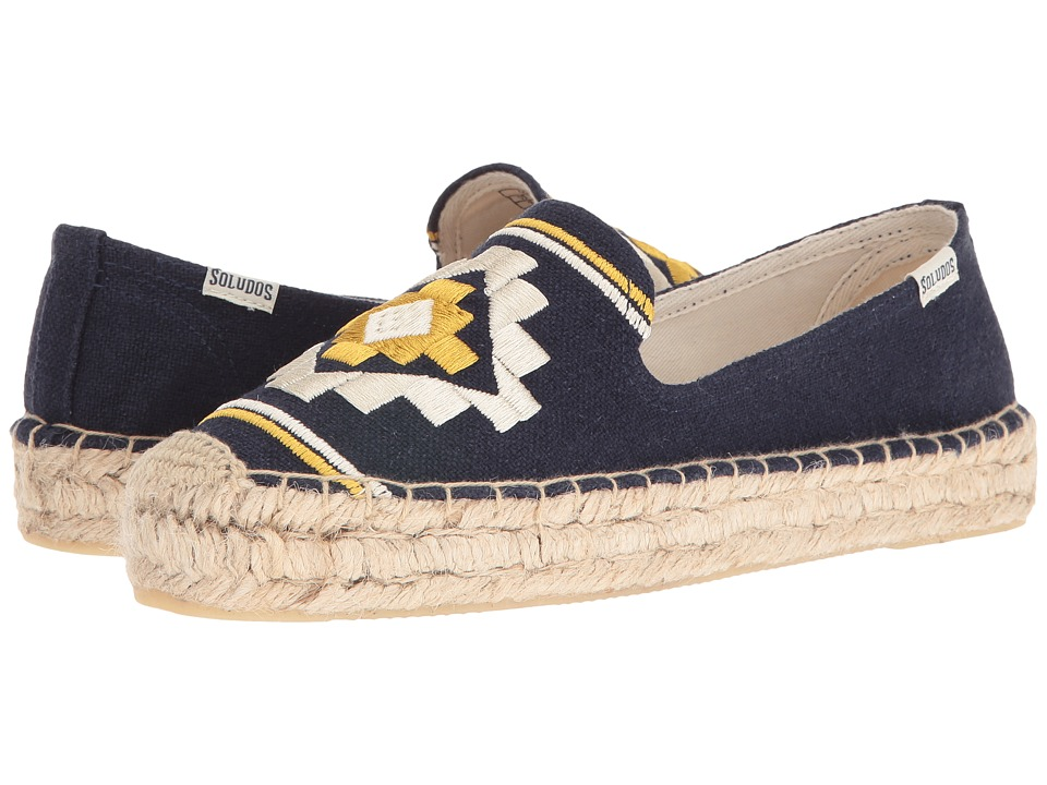 Soludos Embroidered Platform Smoking Slipper (Navy Canvas) Women