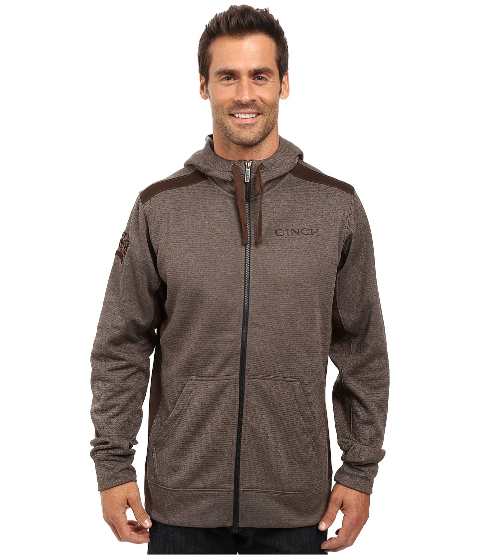 Cinch - Full Zip Color Blocked Tech Fleece (Brown) Men's Clothing