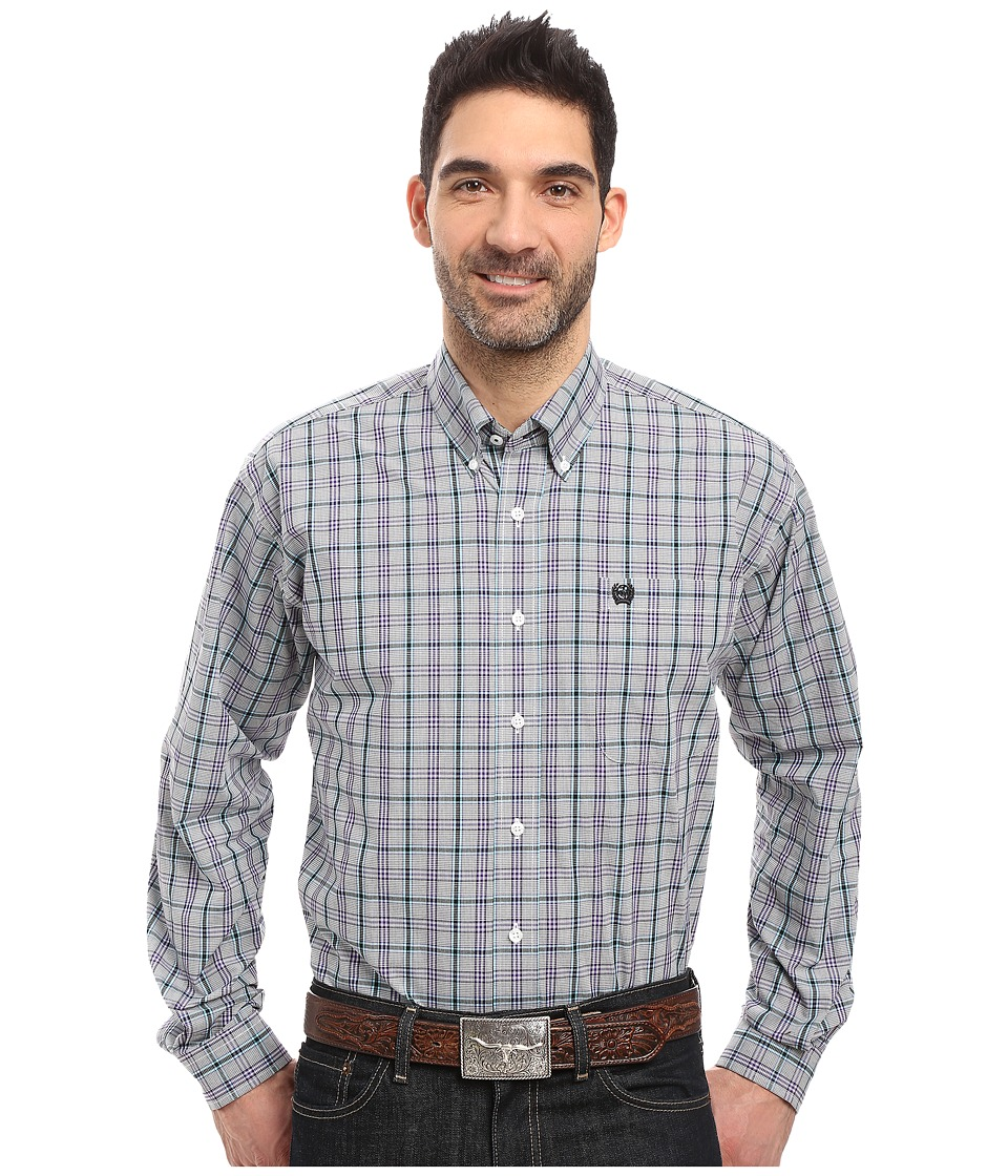 Cinch - Long Sleeve Plain Weave Print (White) Men's Clothing