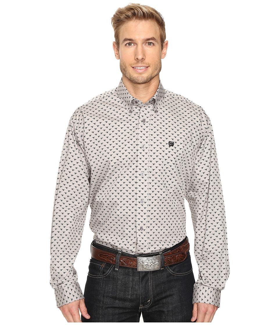 Cinch - Long Sleeve Plain Weave Print (Gray) Men's Clothing