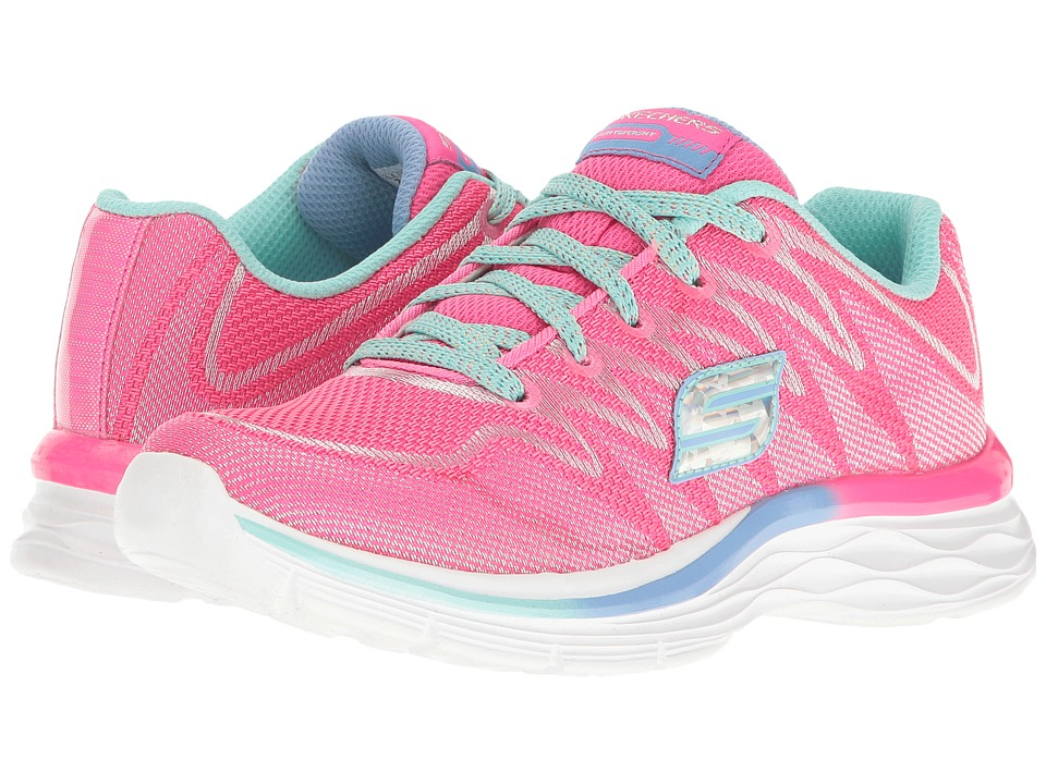 SKECHERS KIDS - Dream N' Dash 81130L (Little Kid/Big Kid) (Neon Pink/Aqua) Girl's Shoes