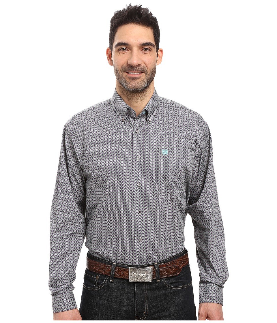 Cinch - Long Sleeve Plain Weave Print (Gray) Men's Clothing