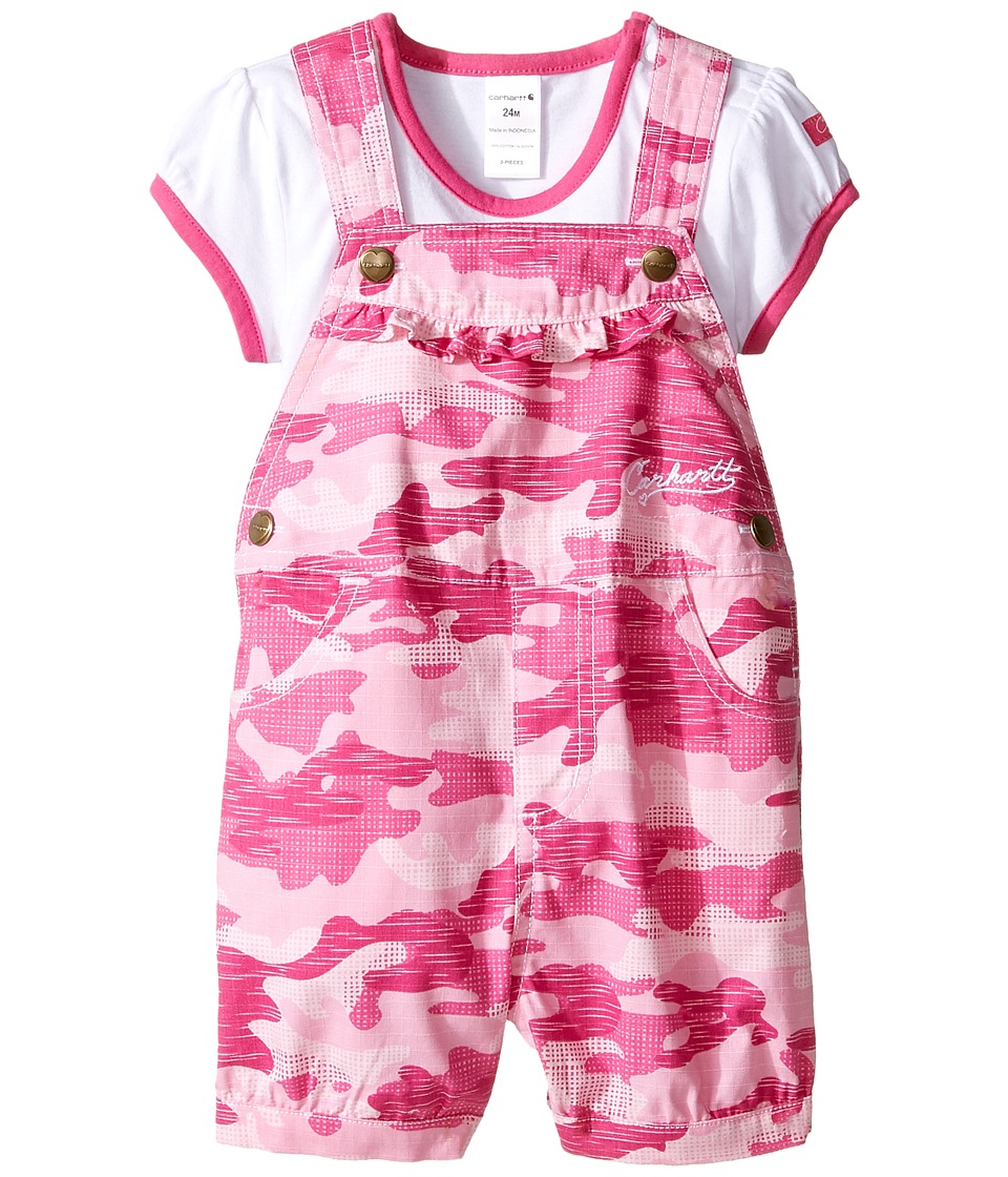 Carhartt Kids - Camo Shortall Set (Infant) (Pink Camo) Girl's Active Sets