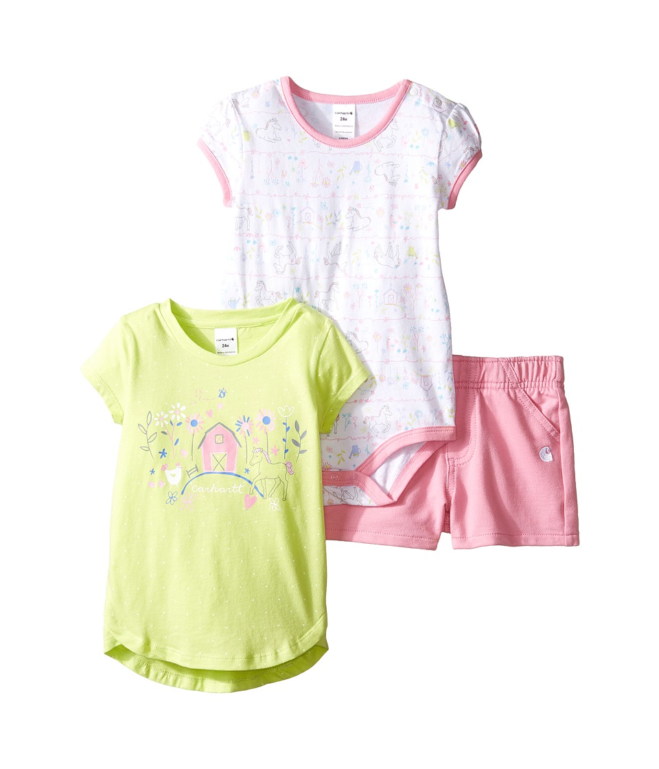 Carhartt Kids - Three-Piece Gift Short Set (Infant) (Rose Bloom) Girl's Active Sets