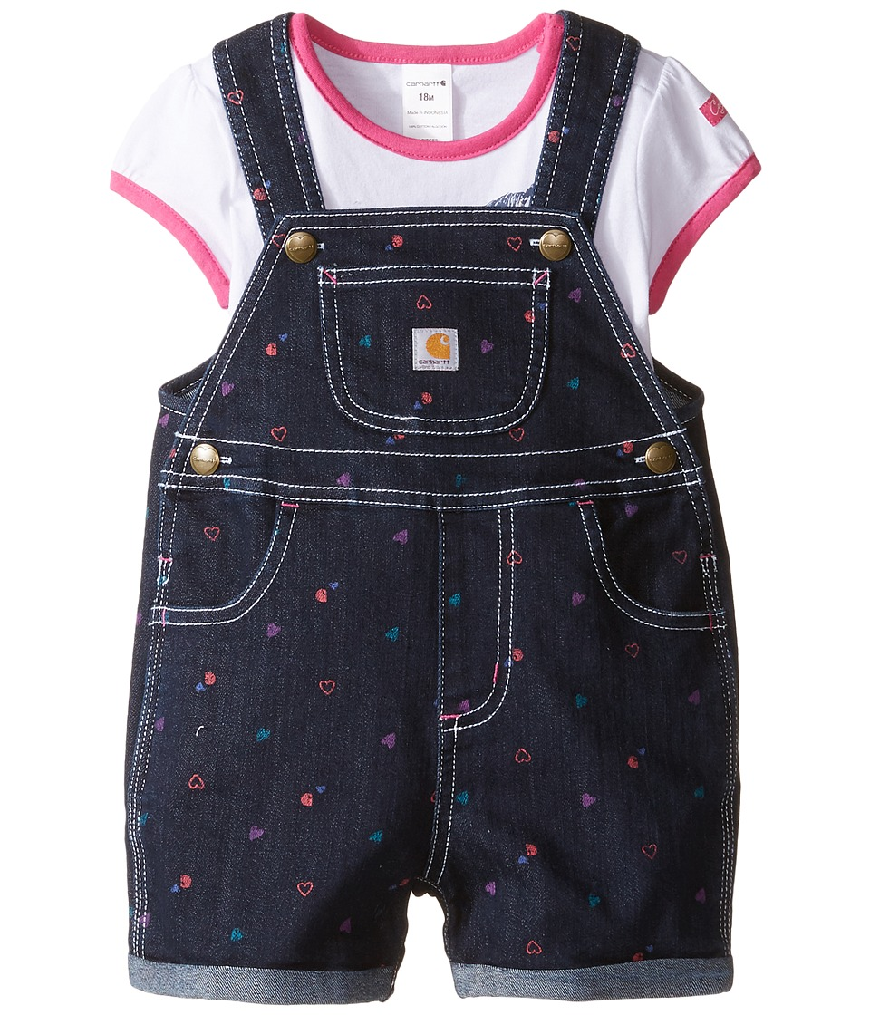 Carhartt Kids - Printed Denim Shortall Set (Infant) (Classic Wash) Girl's Active Sets