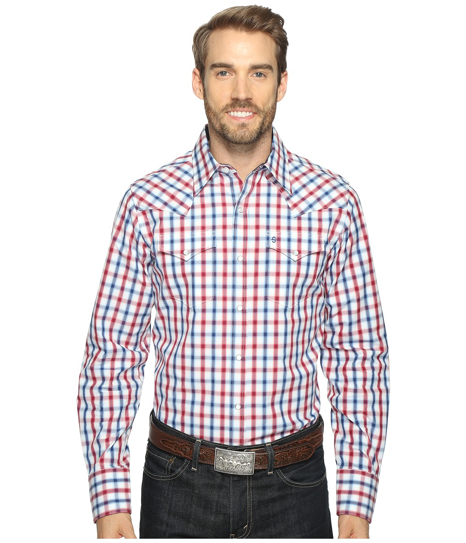 Stetson - 0902 Ombre Check Snap (Red) Men's Clothing