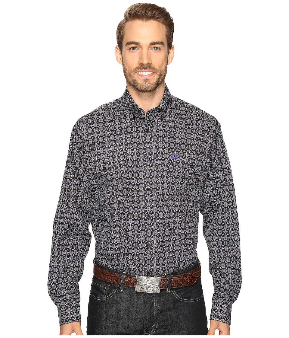 Cinch - Long Sleeve Plain Weave Print Double (Black) Men's Clothing