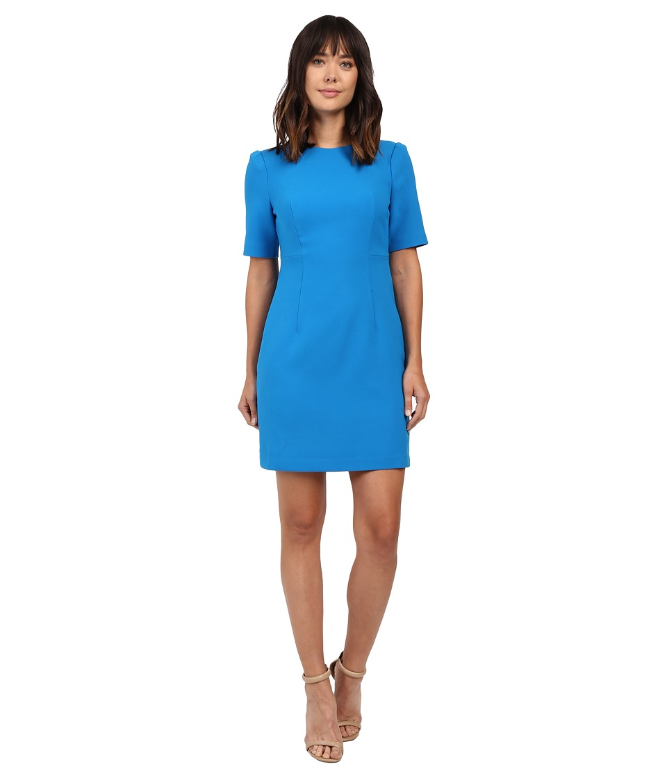 Ellen Tracy - Seamed Short Sleeve Dress (Aquamarine) Women's Dress