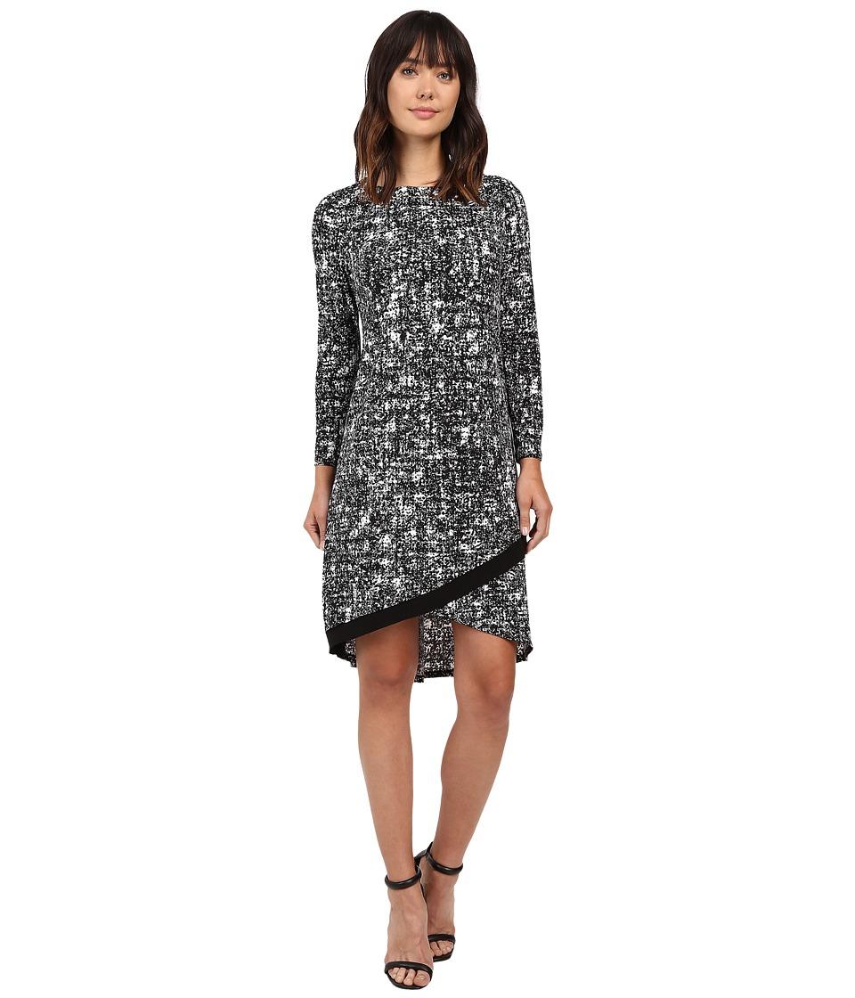 Ellen Tracy - Crossover Hem Dress (Texture E-Black) Women's Dress
