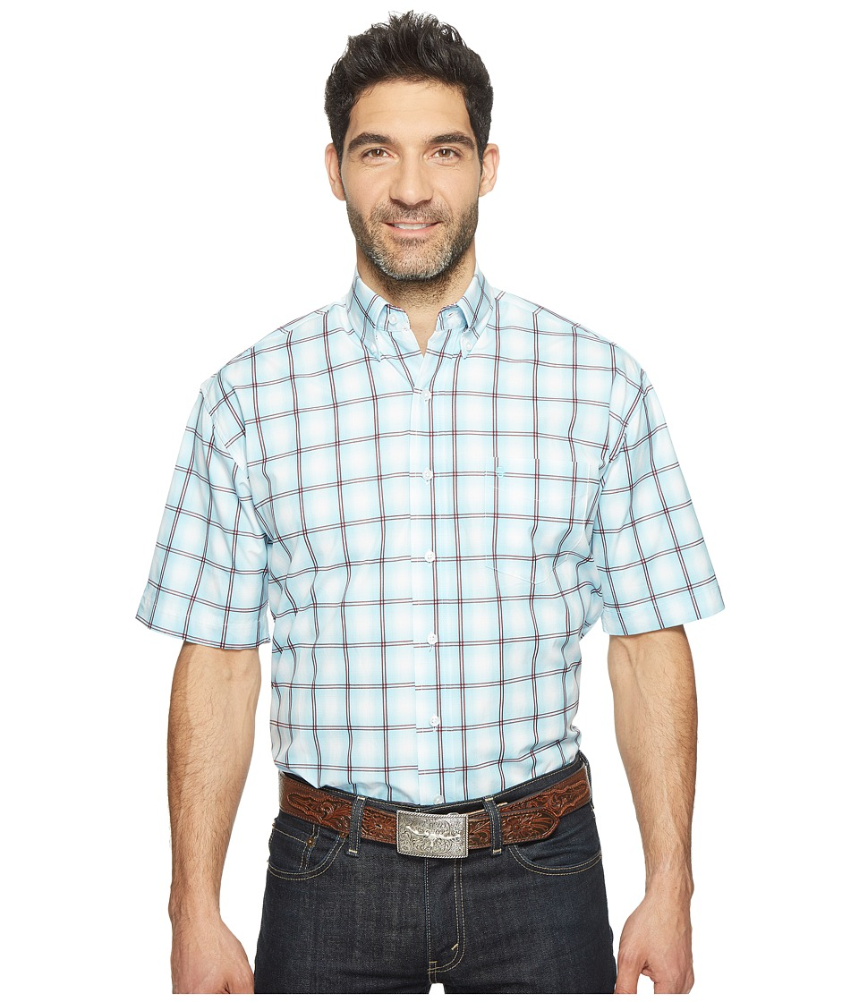 Stetson - 0822 Windowpane Satin Check Short Sleeve Button (Blue) Men's Clothing