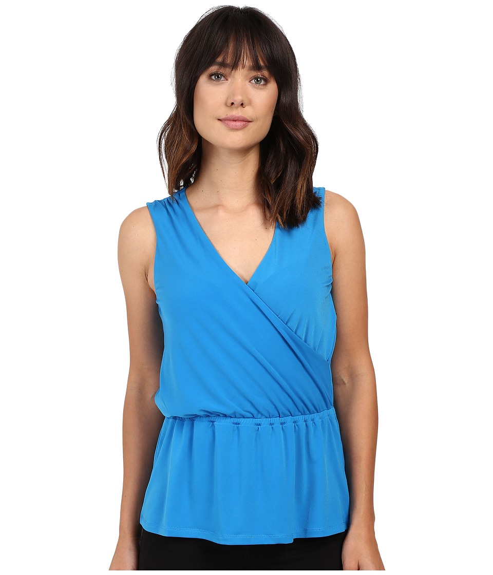 Ellen Tracy - Blouson Faux Wrap Top (Aquamarine) Women's Clothing
