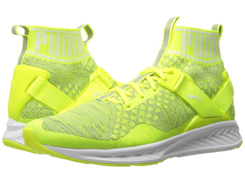 PUMA - Ignite evoKNIT (Safety Yellow/Puma White/Quarry) Men's Running Shoes