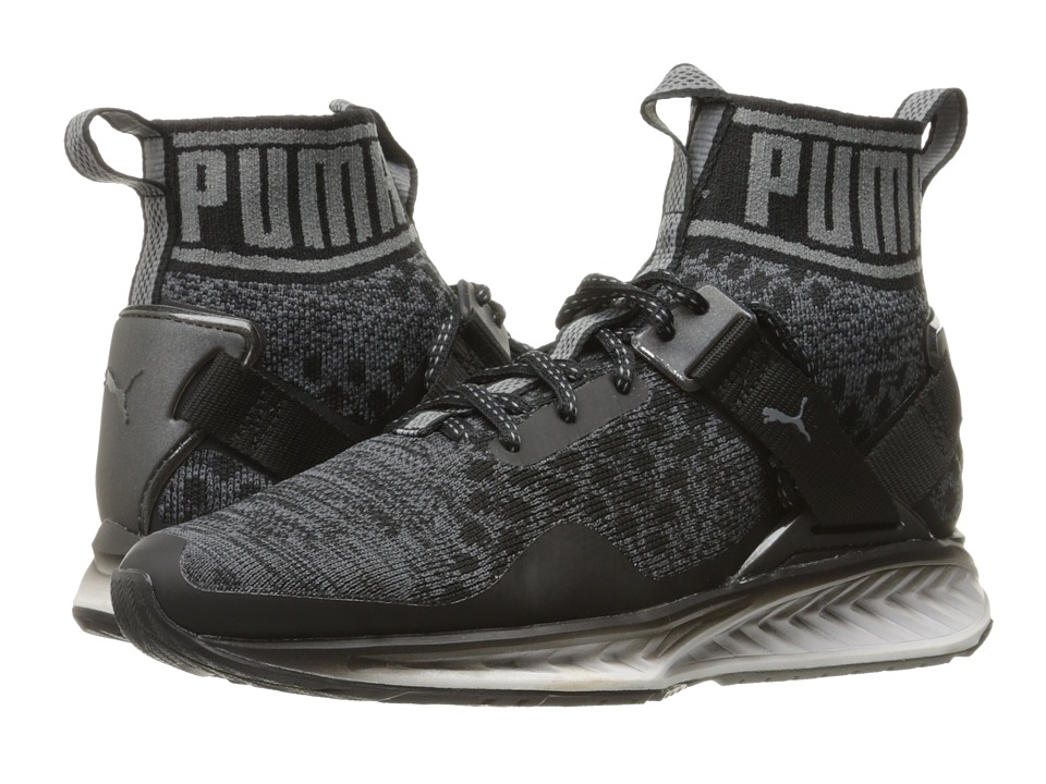 PUMA - Ignite evoKNIT Fade (Puma Black/Asphalt/Quiet Shade) Men's Running Shoes