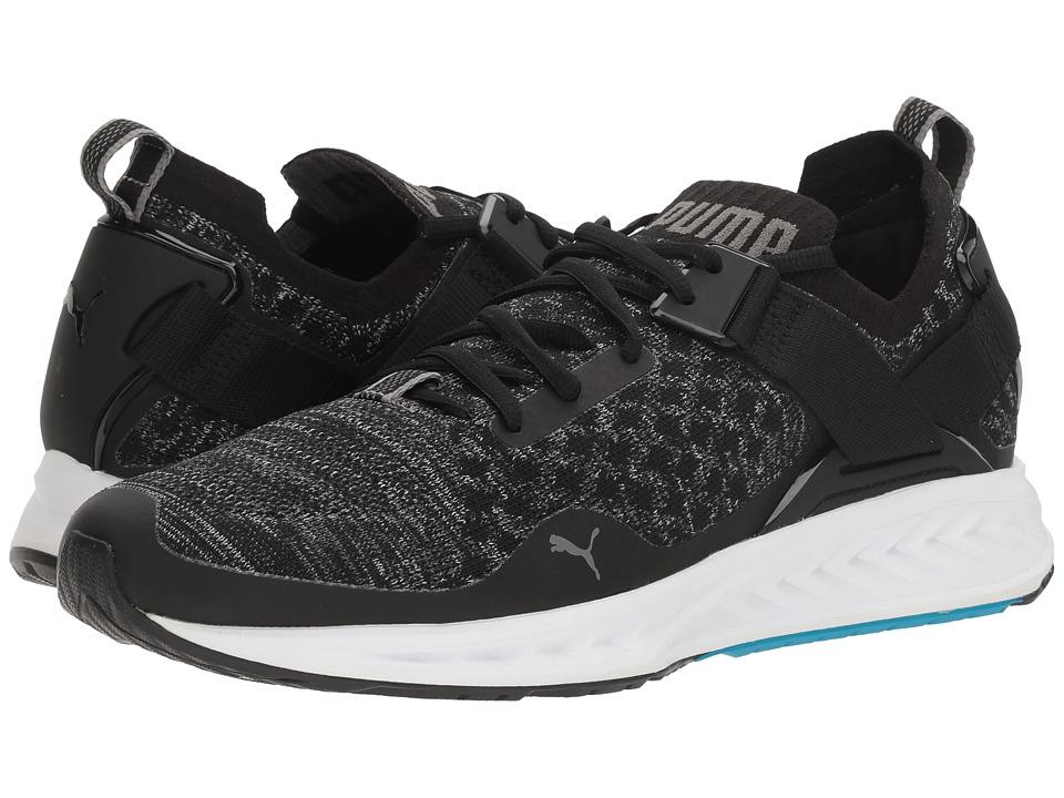 PUMA - Ignite evoKNIT Lo (Puma Black/Blue Danube/Quiet Shade) Men's Running Shoes