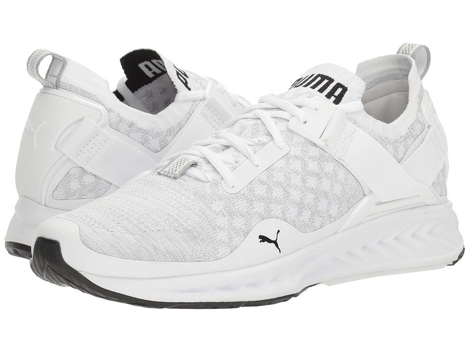 PUMA - Ignite evoKNIT Lo (Puma White/Vaporous Gray/Puma Black) Men's Running Shoes