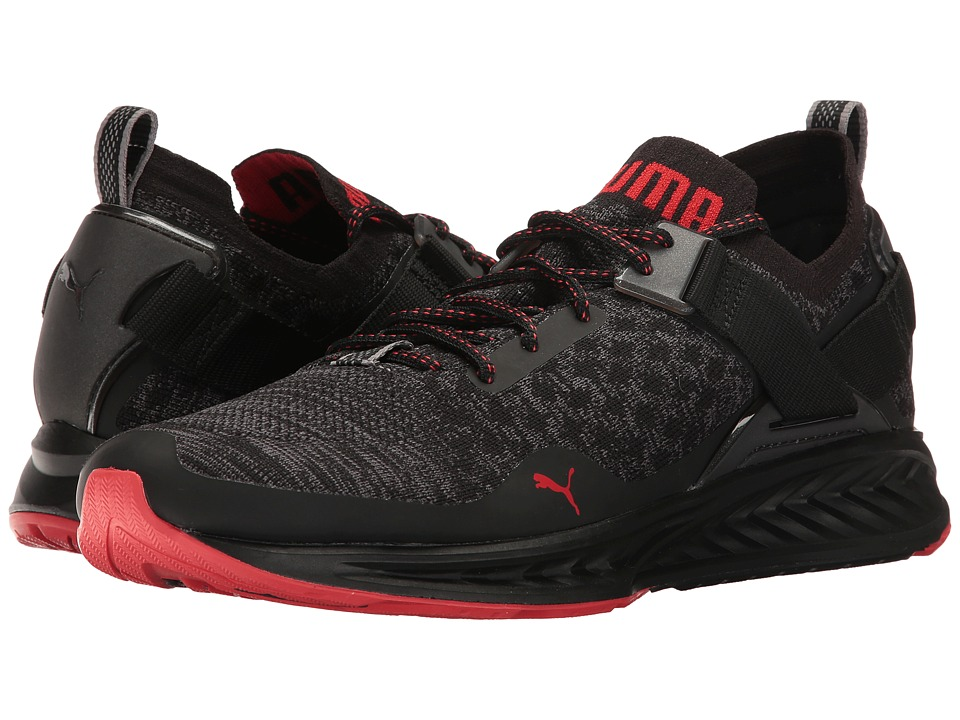 PUMA - Ignite evoKNIT Lo Pavement (Puma Black/Asphalt/High Risk Red) Men's Running Shoes