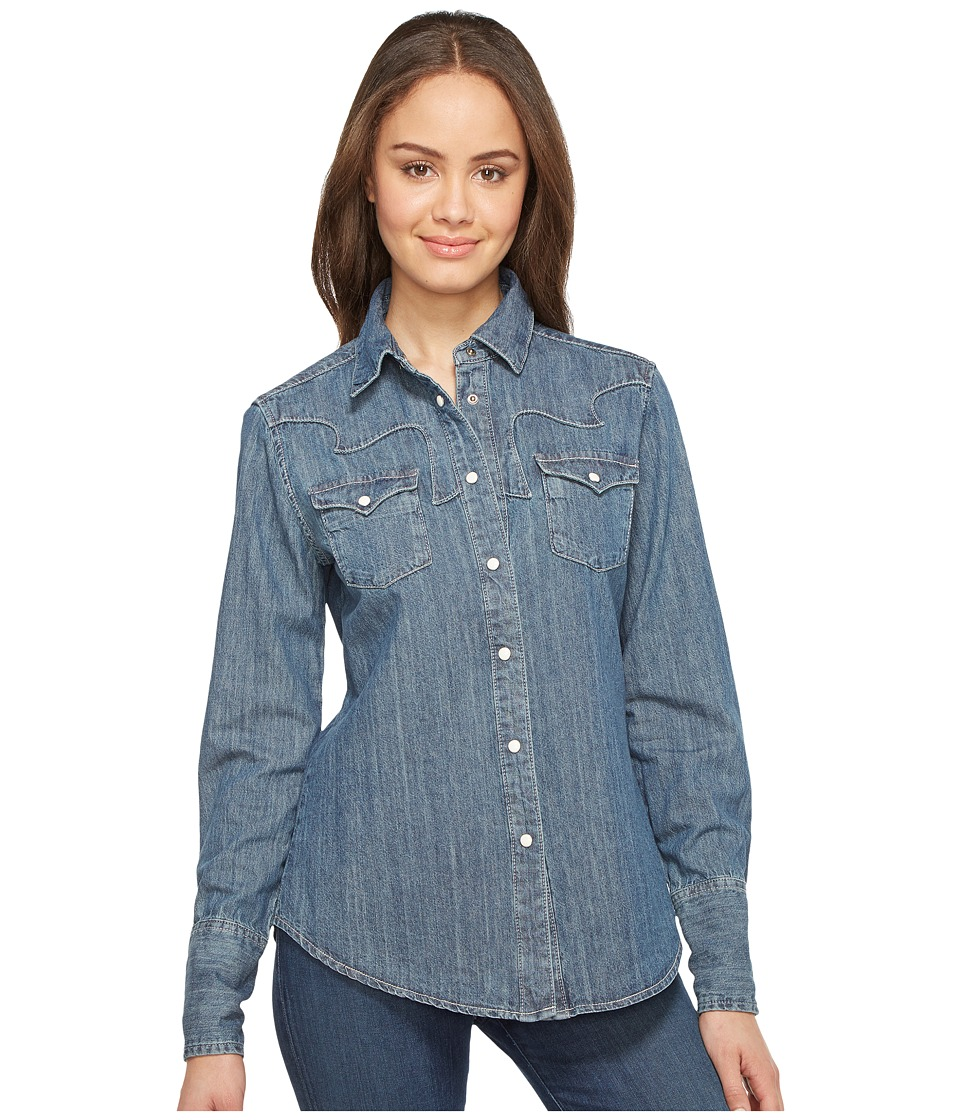 Stetson - Boyfriend Fit Classic Western Shirt (Blue) Women's Clothing