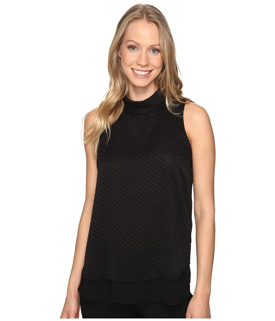 Ellen Tracy - Double Layer High Neck Shell (E-Black) Women's Clothing