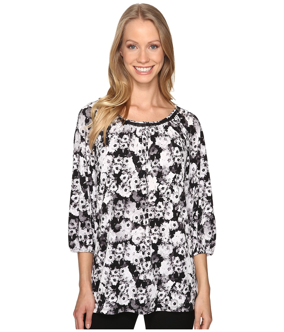 Ellen Tracy - Shirred Neck Top (Abundance Grey) Women's Clothing
