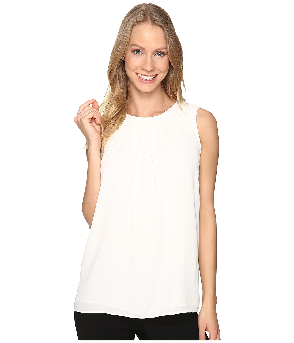 Ellen Tracy - Gathered Neckline Shell (Cream) Women's Clothing