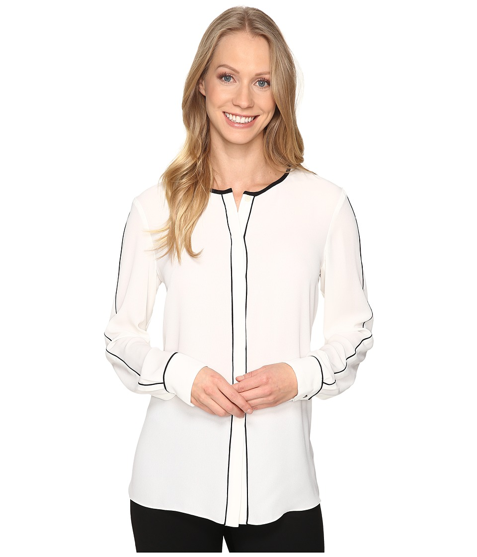 Ellen Tracy - Piped Button Front Blouse (Cream) Women's Blouse