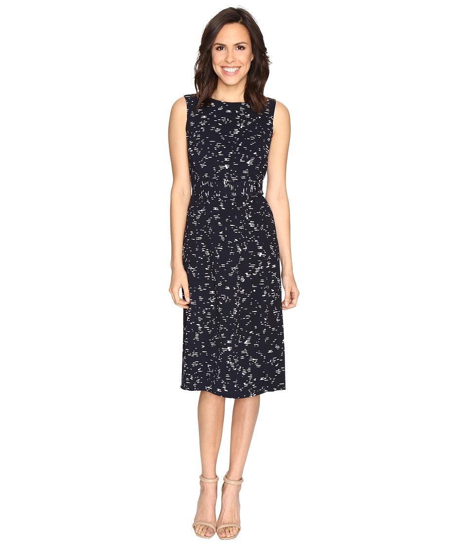 Ellen Tracy Belted Column Dress (Metro Lights E-Navy) Women