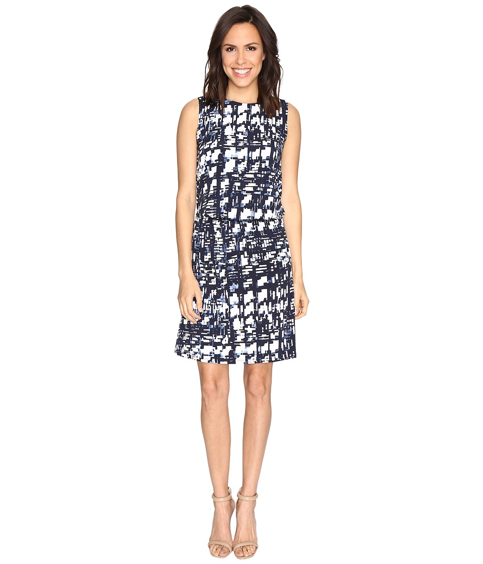 Ellen Tracy Blouson Dress (Plaid E-Navy) Women