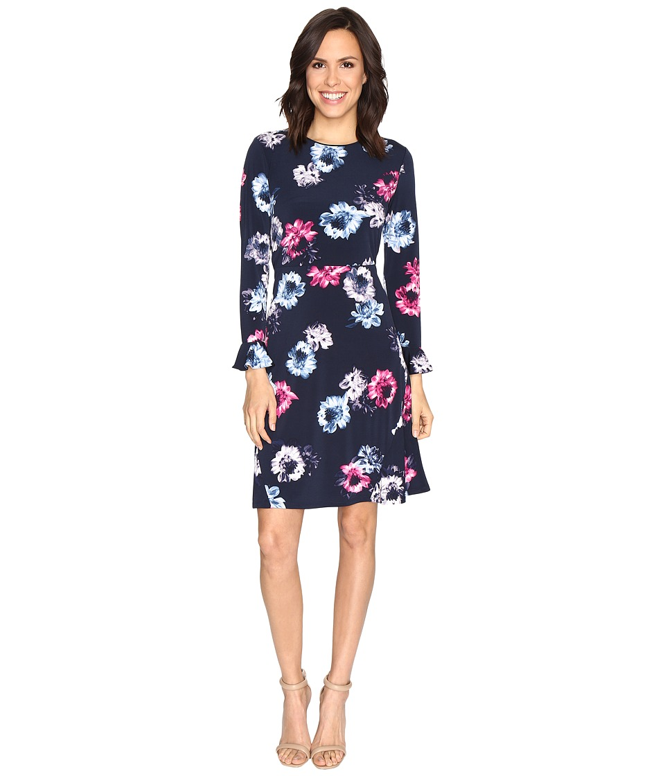 Ellen Tracy - Flutter Sleeve Dress (Twilight Multi) Women's Dress