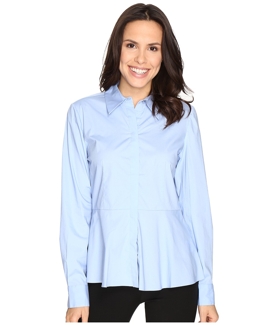 Ellen Tracy - Peplum Collared Top (Serenity Blue) Women's Clothing