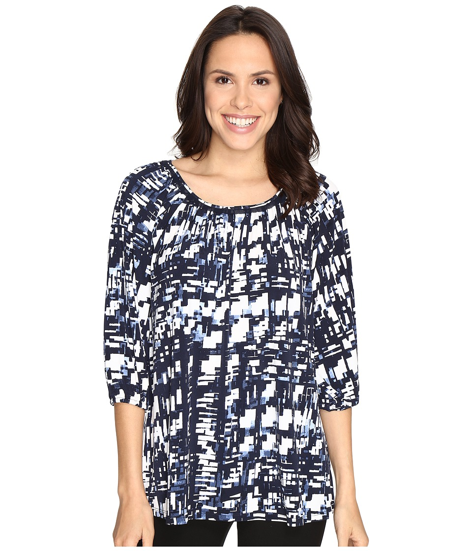 Ellen Tracy - Shirred Neck Top (Plaid E-Navy) Women's Clothing