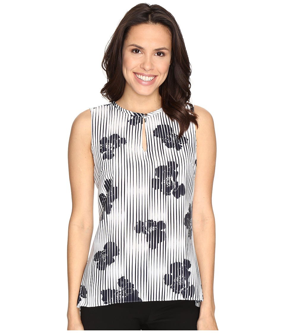 Ellen Tracy - Collarless Peplum Back Top (Blooms E-Cream) Women's Clothing