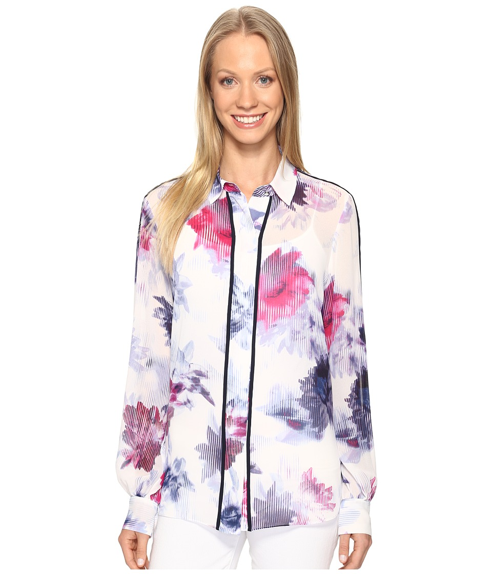 Ellen Tracy - Piped Button Front Blouse (Luminous Multi) Women's Blouse