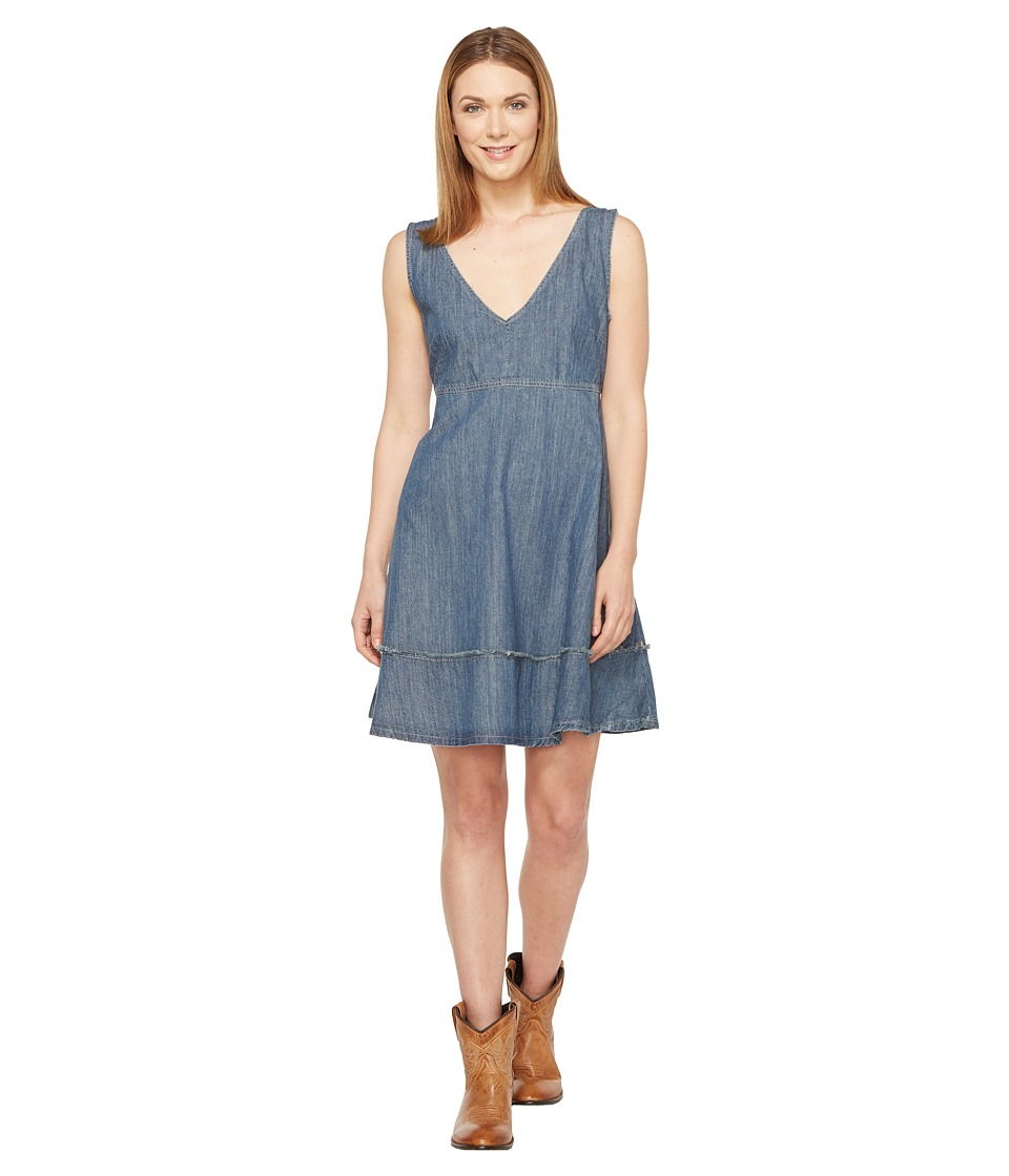 Stetson Sleeveless Denim Dress Full Skirt (Blue) Women