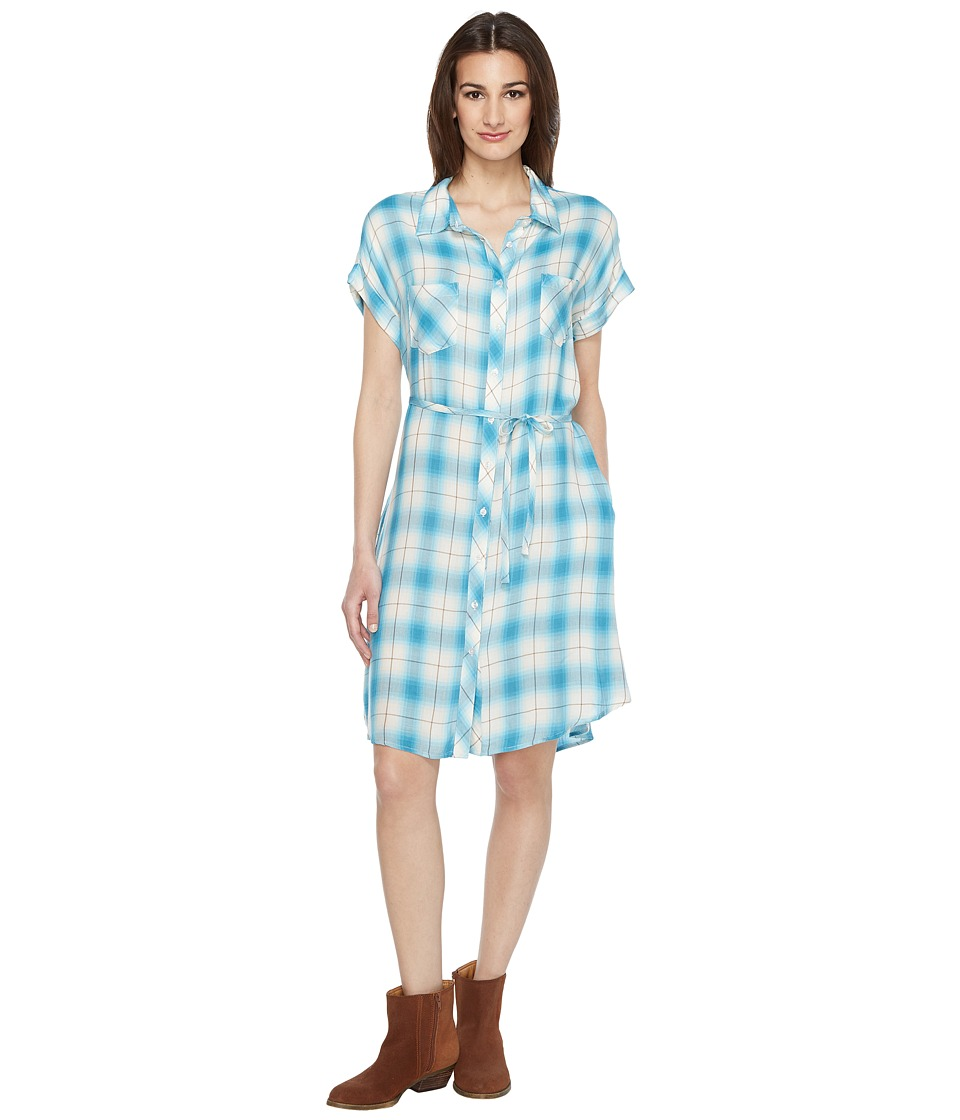 Stetson - 0901 Rayon Twill Plaid Western Shirtdress (Blue) Women's Dress