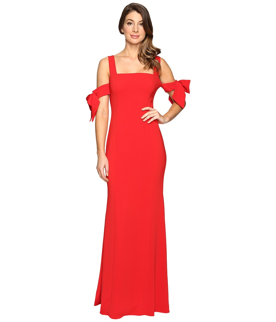 Badgley Mischka Bow Sleeve Off the Shoulder Gown (Bright Red) Women