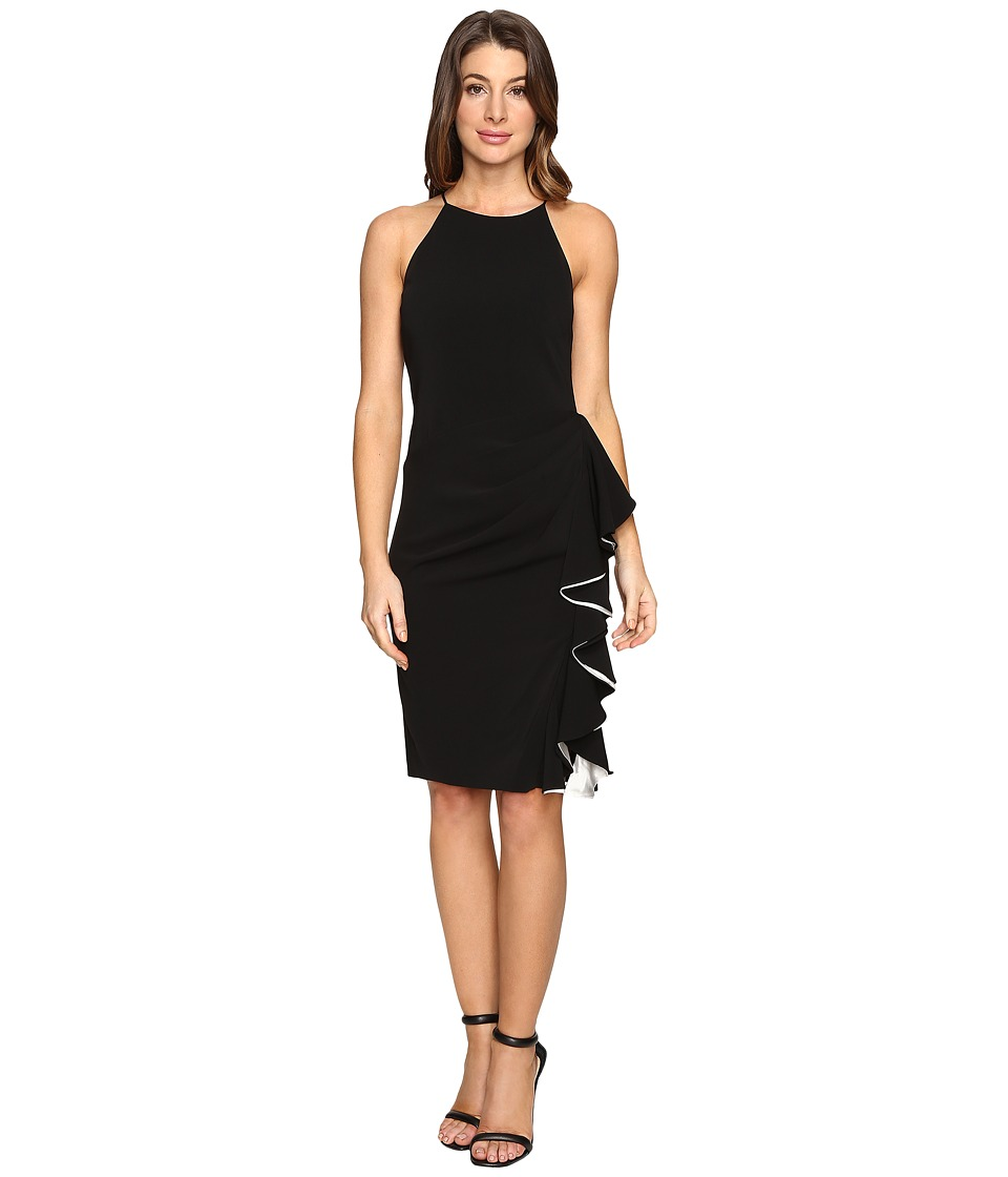 Badgley Mischka - Short Ruffle Racer Dress (Black Ivory) Women's Dress