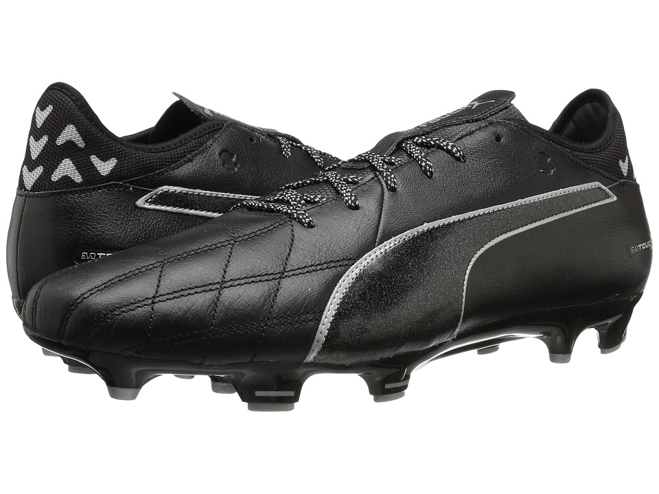 PUMA - evoTOUCH 3 Leather FG (Puma Black/Puma Black/Puma Silver) Men's Shoes